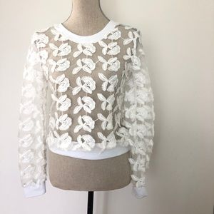 J.O.A Sheer lace floral embroidery sweatshirt Xs